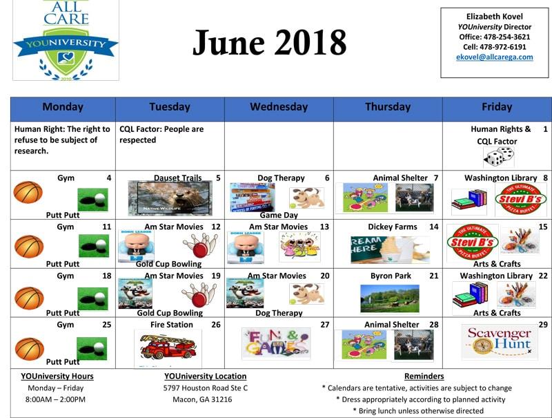 All Care Home Care University Calendar
