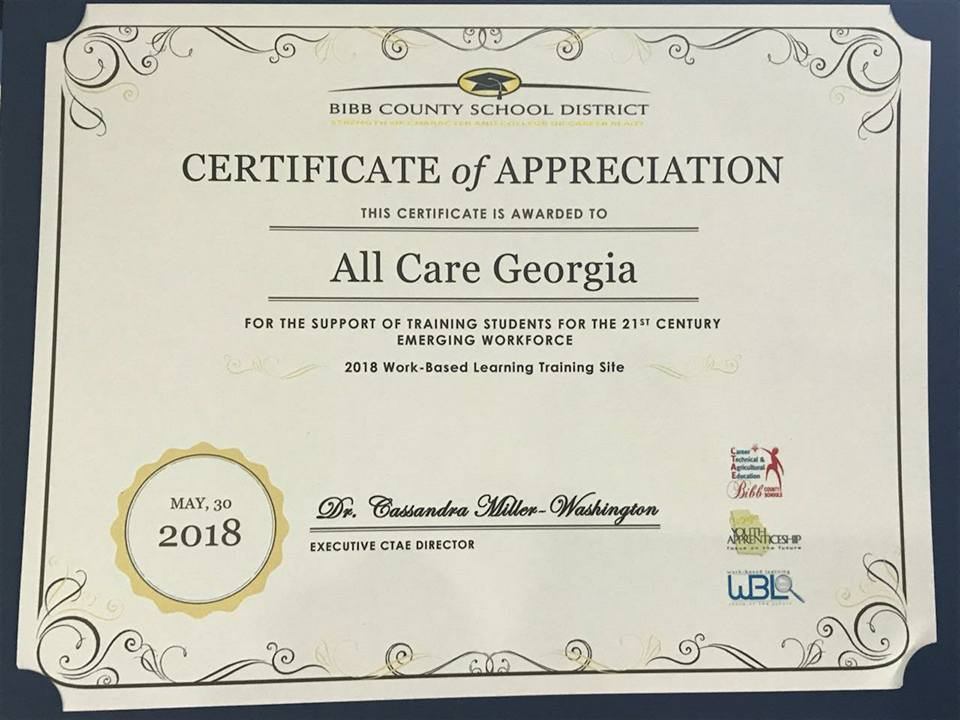 All Care Macon Private Home Care All Care Supports High School
