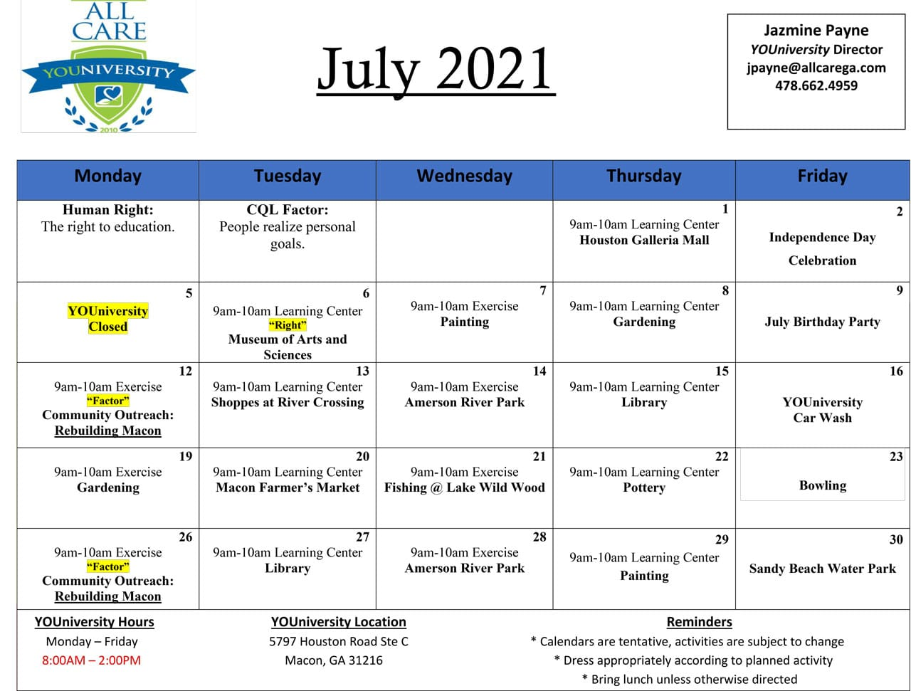 YOUniversity Calendar July 2021